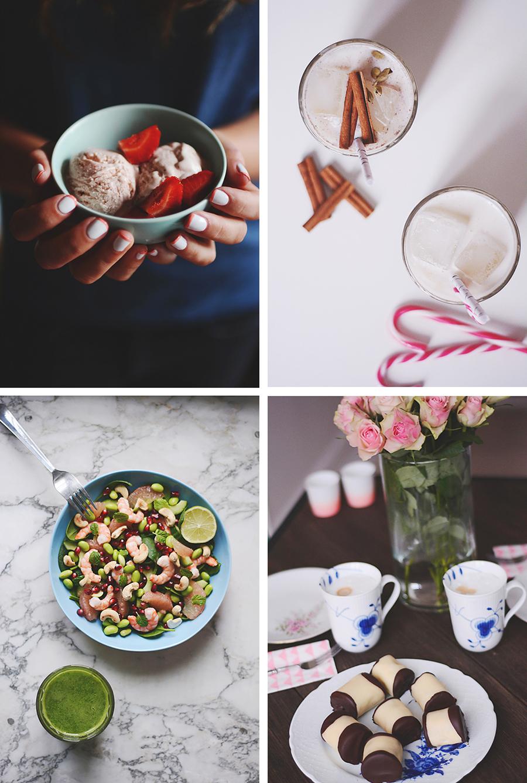 jordbærflødeis white russian salat med rejer og edamame hjemmelavede træstammer