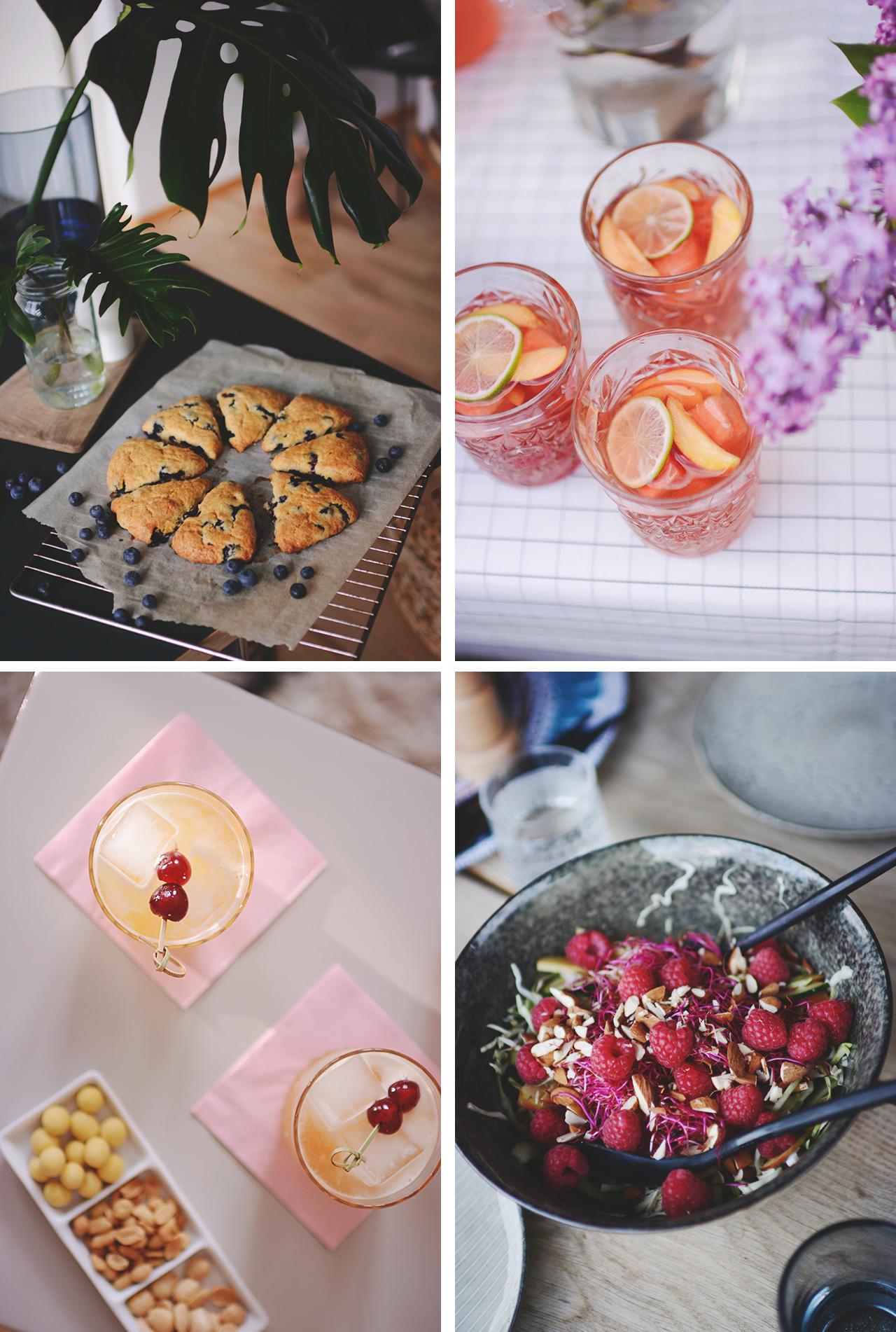 blåbærscones rosé sangria whiskey sour salat med hindbær