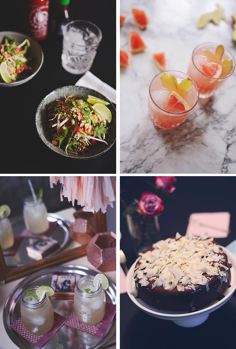 nudler med kylling og grønt drink med ingefær og grape moscow mule chokoladekage med kokos