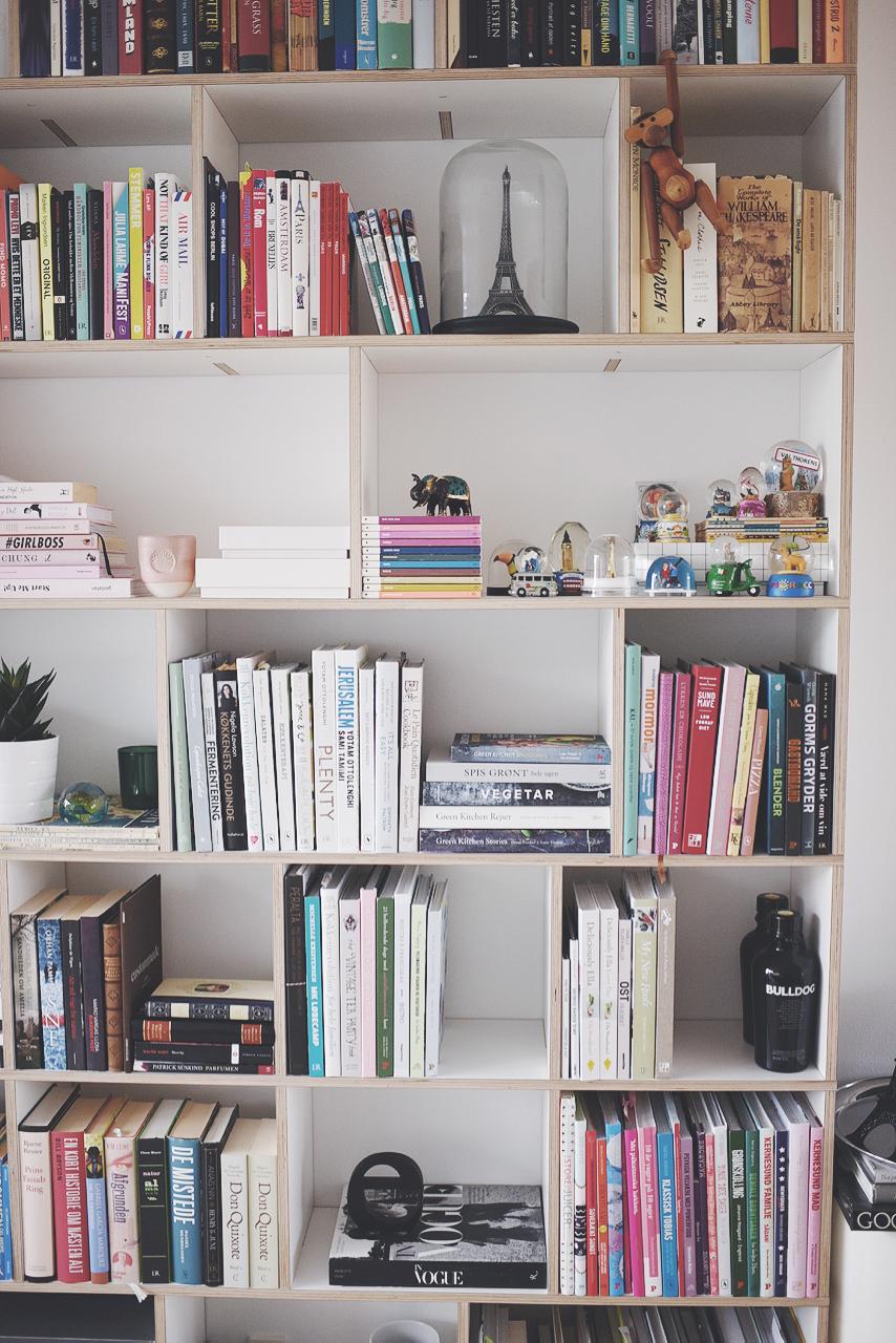 bogreol med mange bøger