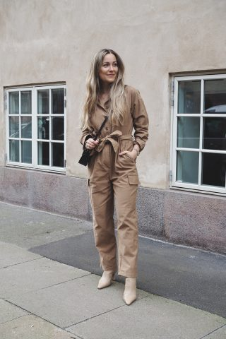 beige jumpsuit