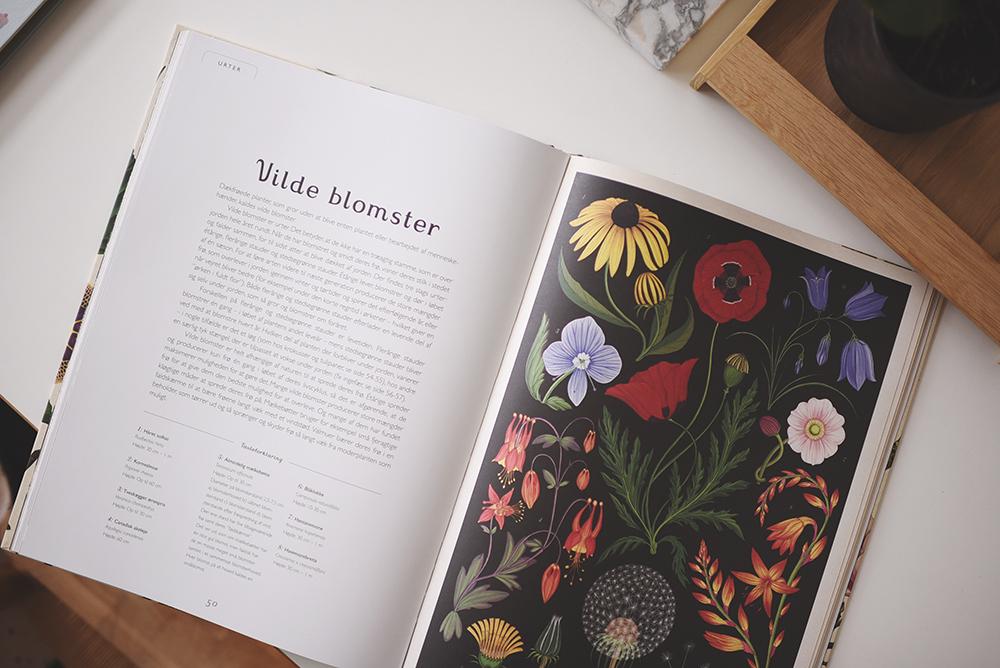 bog med blomstertegninger